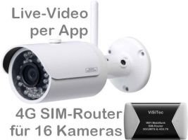 238.014 4G/LTE 3G/UMTS Mobilfunk-Überwachungskamera-Set. Live-Video, Aufzeichnung, Bewegungsalarm per Handy-App oder PC. Inkl. SANTEC 3MP Outdoor-Kamera BW304 und SIM-Router für 16 Kameras. Ideal für Baustelle, Stall, Ferienhaus