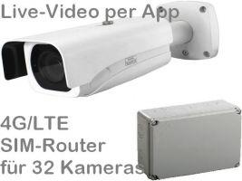238.036 4G/LTE Outdoor Mobilfunk-Überwachungskamera Set. Live-Video, Aufzeichnung, Zutrittsalarm, per Handy-App oder PC. SANTEC 4MP Motor-Zoom-Kamera und SIM-Router für 32 Kameras. Ideal zur Überwachung von Baustellen, Dokumentation, Zeitraffer