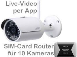 238.01 SANTEC 3G UMTS Mobilfunk-Überwachungskamera-Set. Live-Video, Aufzeichnung, Bewegungsalarm per Handy-App oder PC. Inkl. 3MP Outdoor-Kamera BW304 und SIM-Router für 10 Kameras. Ideal z.B. als Baustellenkamera und Bau-Dokumentation mit Zeitraffer