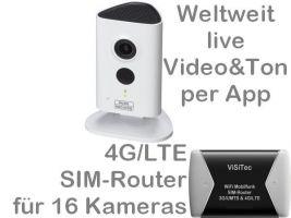 238.021 4G/LTE 3G/UMTS Mobilfunkkamera-Set: Weltweit Live-Video mit Ton, Aufzeichnung, Bewegungsalarm, SANTEC 3MP Nachtsichtkamera BW3020 mit LTE-Router (bis 16 Kameras mit einer SIM-Card), Zugriff per Handy-App/PC. Ideal für z.B. Ferien-/Wochenendhaus