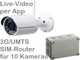238.005 3G/UMTS Outdoor Mobilfunk-Überwachungskamera-Set für SIM-Karte. Live-Video und Aufzeichnung per Handy-App. Inkl. Outdoor Full-HD Kamera DA304 und SIM-Router für 10 Kameras. Ideal z.B. als Baustellenkamera, für Wochenendhaus